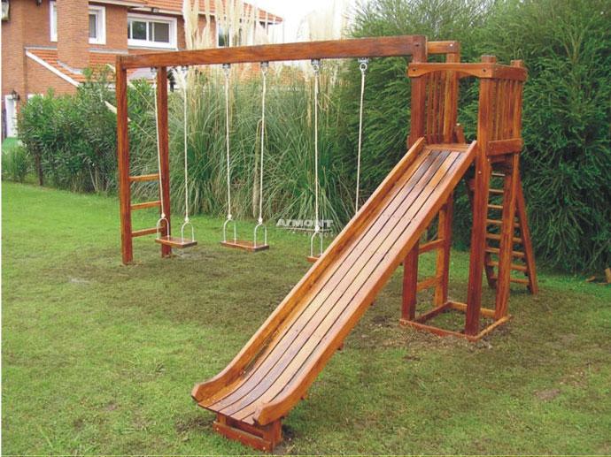 juegos infantiles en madera torre chica con hamaca pasamanos